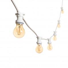 Catenaria da 10 Metri Con 10 Porta lampade E27 Bianco